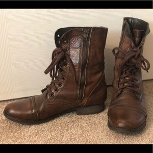 Steve Madden Troopa Leather Combat Boots (Women's)